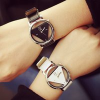 Wholesale Wholesale Watches Japan - Wholesale- Fashion JIS Brand Hollow Black White PU Leather Japan Core Quartz Wrist Watch Hours Clock for Women Men Unisex