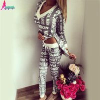 2016 Asymmetrische Sweatshirt und Hosen Set 2 Zweiteilige Set Trainingsanzug PARIS Drucken Sweat Suits Frauen Hoodies Sets S0423