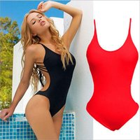 Wholesale Sexy Jumpsuits For Women Xl - 2017 Summer Women Sexy Swimwears Beach Jumpsuit Swimsuits Soild One Piece Swimwear For Lady In Stock