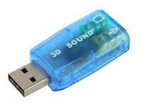 tarjeta de sonido de audio usb al por mayor-G035 DHL Tarjeta de audio 3D USB 2.0 Adaptador de micrófono / altavoz Tarjeta de sonido envolvente 7.1 CH para computadora portátil