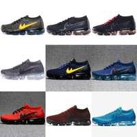 Wholesale Lining Basketball - Free shipping High quality Air 2018 Women Men Running Shoes Cushion Surface Breathable Fly line Sports shoes Black Red Blue Size US 5-11