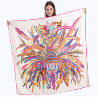 Wholesale Feather Shawls - 130cm*130cm Luxury Brand Indian Feather Crown Print Twill Silk Scarf For Women Headband Female Large Square Scarves Fashion Shawls