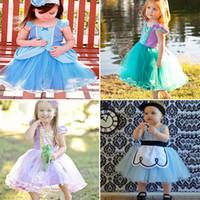 vestido de princesa gratis al por mayor-INS Girls Vestido floral Baby Princess Party Blue Bubble Skirt Up Vestido de Cenicienta Show de cumpleaños TUTU dresses 4 Style DHL Gratis WX-D33