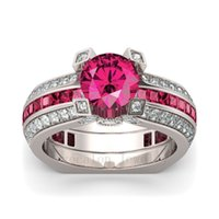 Wholesale ruby bridal - 2017 New Hot Sale Luxury Jewelry 925 Sterling Silver Red Ruby AAA CZ Diamond Gemstones Round Cut Wedding Women Bridal Ring Set Size 5-10