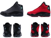 Wholesale Outdoor Wool Mens - Retro 13s WOOL Black red outdoor sports shoes athletic trainers Retros 13 mens basketball shoes sneaker dropshipping
