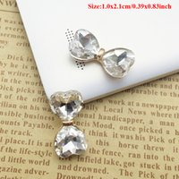 Wholesale Crystal Rhinestone Applique Embellishment - 50pcs Rhinestone For Clothing Bowknot Crystal Buckle Button Charms Flatback Drilling Jewelry Making strass Applique Gemstones Embellishment