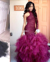Wholesale Evening Dress Pagent - Burgundy Long Mermaid Sexy Prom Dresses 2017 Tulle Lace Ruffle One Shouler Zipper-Up Court Train Evening Dresses Pagent Gowns