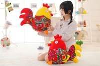 Wholesale Rooster Plush - China Wind Prints Chicken Plush Toys Soft Stuffed Animals Rooster Cock Doll Toys For Children Chinese Zodiac Chicken Kids Gift