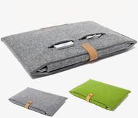 13 laptop hülle macbook großhandel-Leder Felt Shockproof Notebook Liner Tasche für Macbook Ipad Air Pro 11 13 15 17-Zoll-Laptop-Tasche Schutzhülle Tablet-Taschen GSZ220