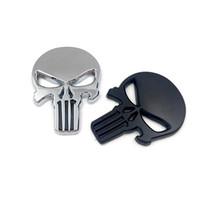 kafatası rozetleri toptan satış-10X Punisher Vücut Rozeti 3D Kafatası Sticker Metal Amblem Tüm Vücut Için Infiniti Q40Q50 QX80 FX35 G25 Q70 Qx60
