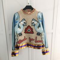 Wholesale Parrot Blue - Khaki Blue Patchwork Women's Sweaters 2017 Parrot Embroidery Letter Applique Sequins Brand Same Style Pullovers Women M061728