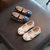 Wholesale Soft Soled Shoes Cloth - 2017 New Design Girl Shoes Kids Floral Flower Embroidered Sneakers Child Girls Casual Shoes for Girl Soft cloth Shoes Soles Navy Beige A7450