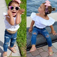 Wholesale 2t Girls Jeans - Kids Clothing Girls Two Piece Sets Shirt and Jeans Pants Flying Short Sleeve Cotton Summer Children Clothes