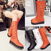 Wholesale Warm Tall Winter Boots - The new winter leisure antiskid tall canister boots female students flat round head thickened cotton to keep warm in their boots