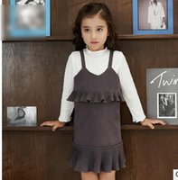 Wholesale Girls Knit Collared Shirts Wholesale - Girls outfits Kids suspender falbala Hem knitting A-line dress+long sleeve stand collar bottoming-shirt 2pcs set new Kids clothing G1130