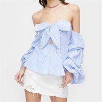 Wholesale Ladies Party Wear Tops - Off The Shoulder Blouse Shirts Women Puff Sleeve Striped Tops 2017 Summer Sexy Casual Ruffles Tops Beach Wear Ladies Elegant Party Clothing