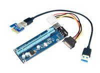 pci e kabel 1x 16x großhandel-10 teile / los PCIe PCI-E PCI Express Riser Karte 1x zu 16x USB 3.0 Datenkabel SATA zu 4Pin IDE Molex Netzteil für BTC Miner Maschine RIG
