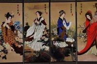 Wholesale Traditional Chinese lacquer painting four noble beauty of the screen
