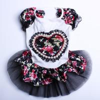 Wholesale Dog Flower Dresses - Black Princess Dog Wedding Dress Big flower&Love Pet Skirt Clothes 4 sizes