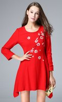 Wholesale Paint Offers - 2017 Europe new spring ladies fleece slim special offer hand-painted irregular clearance dress