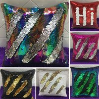Wholesale Decor Pillow Cases - HOT Double Sequin Pillow Case Cover Glamour Square Pillow Case Cushion Cover Home Sofa Car Decor Mermaid Bright Pillow Covers WX-P01