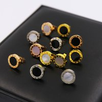 Wholesale Gold Black Stud Earrings - Famous Brand Top Quality 316L Titanium steel Women Stud Earrings with Black and White Shell Design Fashion jewelry brand jewelery for women