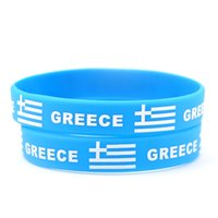 Wholesale Gift Football World Cup - 50pcs Greece National Flag Design Bracelets Greek Football World Cup 100% Silicone Wristband Personalized Gym Fitness Energy Bracelets