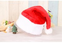 Wholesale Hot Santa Costume - Hot Sale Santa Red Plush Christmas Party Hat Holiday Costume Caps Adult Headgear Velvet Santa cap WA1500