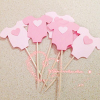 Wholesale Girls Clothing Cupcake - Wholesale-Baby boy girl Clothes Cupcake toppers decoration for Kids Birhday party favors Baby Shower Decoration Supplies 5*5.5cm