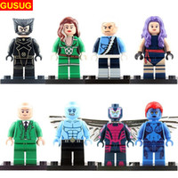 Super-héros 8pcs Pas Cher-Building Blocks Bricks Marvel X-men Superheroes Figure Wolverine Professeur X Ice Man 8Pcs / Lot DIY Toys For Kids Bricks minifigures