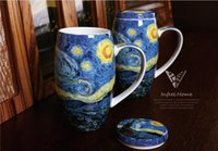 Wholesale Night Coffee - New European impressionist style Van Gogh painting The Starry Night mug 750ML drum cup Bone china Coffee cup with lid Spoon