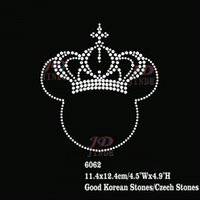 Wholesale Wholesale Iron Rhinestone Appliques - 30pcs lot Hotfix Rhinestone Iron on Heat Transfer Abstract Minnie Mouse With Crown Applique DIY For Tank Tops