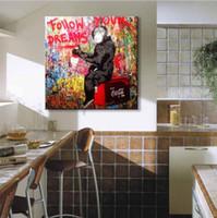 pinturas a óleo macacos venda por atacado-1 Painel Moderno Impresso Pintura A Óleo Abstrata de Macaco Graffiti Pintura de Lona Imagem Pinturas A Óleo Para Sala de estar Sem Moldura