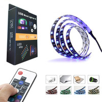 Wholesale Pc Tv Wire - 5050 DC 5V RGB LED Strip Waterproof 30LED M USB LED Light Strips Flexible Neon Tape 1M 2M add Remote For TV Background