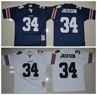 Wholesale Tiger Sleeveless - 34 Bo Jackson Auburn Tigers Men Jerseys White Navy Blue Mens College Football Throwback Jersey Size S-XXXL