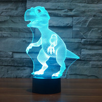 Dinosaur 3D Night Light Touch Table Desk Lamp, Borang 7 Couleurs avec Acrylique Flat USB Chargeur pour Christma