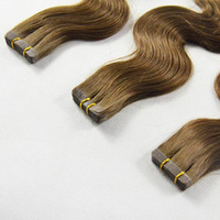 """Wholesale Tape Hair Extensions 27 - Top quality 7A-indian remy human hair body wave 20"""" PU tape on hair Extensions Ombre Color 1B 4 27 -2.5g per piece & 40pcs per lot  100g"""