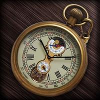 Wholesale Mechanical Wind Up Pocket Watches - ROMAN NUMBER DIAL WIND UP MECHANICAL POCKET WATCH VINTAGE TOURBILLON MOONPHASE COPPER TONE H035