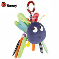 Wholesale Toy Dolls Bee - Wholesale- Baby Soft Bee Plush Toy Teether Colorful Stroller Crib Bed Hanging Ring Bell Baby Rattle Educational Doll brinquedos juguetes