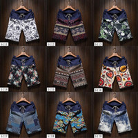 Wholesale Pants Boys Big - 2017 Summer Fashion Yong Boys Casual Linen Shorts Pants with Mosaic Flower Pattern Mens Surfing BoardShort Big Yards 4XL 5XL ZL3374