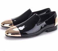 Wholesale Metallic Men Loafers - Black Patent Leather Shoes Men Party and Wedding Loafers Metallic Formal Shoes Men Flats