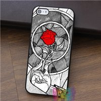 Wholesale Purple Iphone 4s Glass - red rose stained glass beauty beast fashion cell phone case for iphone 4 4s 5 5s 5c SE 6 6s 6 plus 6s plus 7 7plus #ey551