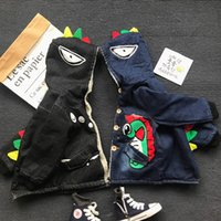 Wholesale Boys Hooded Denim Jacket - Baby Boy Clothing 2017 Kids Boys Denim Dinosaur Jackets Baby Boys Cartoon Hooded Outwear Boys Autumn Winter clothing