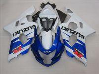 gsxr yeni kaplamalar toptan satış-3 hediye Yeni Sıcak ABS motosiklet Için Fairing kitleri 100% Fit SUZUKI GSXR 600 750 K4 2004 2005 GSXR600 GSXR750 04 05 R600 R750 Mavi Beyaz