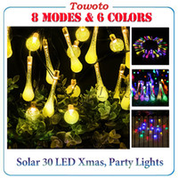 Wholesale Out Door Lighting String - NEW Solar LED water drop light string out door led christmas garden decoration lights waterproof 6.5m 30 led bulbs fairy party Xmas decor