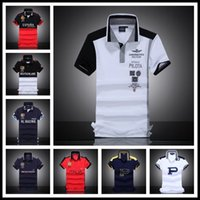 Wholesale Hand Embroidered Shirts - 2017 Men's Polo Shirt Embroidered Horse Logo Brand Militare Men Polo Shirts Air Force One Short Sleeve Polos Male Top Tee