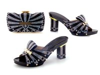 Wholesale Stone Party Shoes - 2016 new Refinement Bags High-heeled Shoes african lady shoes Matching Bag with many stone