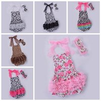 Wholesale Girls Leopard Lace - baby ruffle romper baby girls floral rompers newborn animal print jumpsuit + bow headbands toddler lace top summer bodysuit leopard onesies