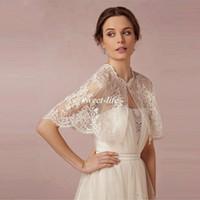 bolero ceket balo elbiseleri toptan satış-Balo Plaj Düğün için Bolero Gelin Gelinlik Şal Kollu Gelin Sarar Dantel Aplike Boncuk Gelin Akşam Ceket 2020