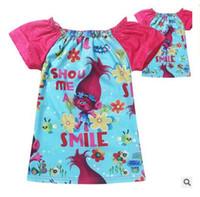 Wholesale T Shirt Size Cm - Trolls Baby T Shirts Children Girls Shorts Sleeve T Shirts Pick sizes Kids Girls Tops Tees Shirts Cotton Girl's Garments Christmas Gifts
